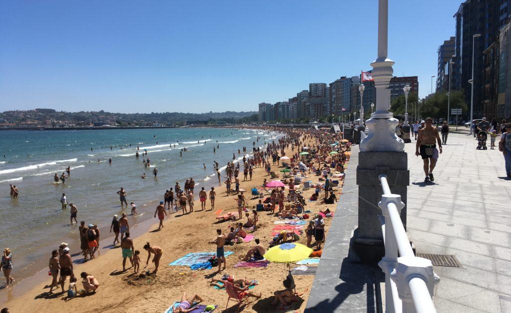 Beach in Gijón, Asturias, Spain